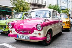 Trabant P 50 en la demostración de coche local del veterano fotografía de archivo libre de regalías