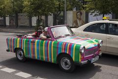 Trabant 601 retro vehicles from Trabi Safari touristic service. Stock Photography