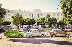 Trabants parked in Berlin, Germany. Trabants car parked in the centre of Berlin, Germany - vintage style Royalty Free Stock Photo