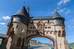 Traben-Trarbach sur le pont de la Moselle photographie stock