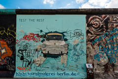 Trabi on the Berlin East Side Gallery Stock Image