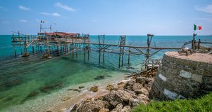 Costa dei Trabocchi, Chieti Province, Abruzzo & x28;Italy& x29;. The Trabocchi Coast, which corresponds to the coastal stretch Adriatic of province of Chieti, is Royalty Free Stock Photo