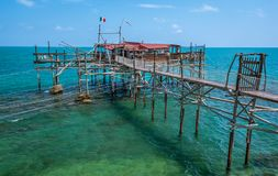 Costa dei Trabocchi, Chieti Province, Abruzzo Italy. The Trabocchi Coast, which corresponds to the coastal stretch Adriatic of province of Chieti, is a 70 Stock Photography