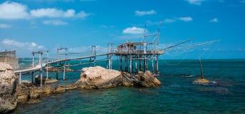 Costa dei Trabocchi, Chieti Province, Abruzzo Italy. The Trabocchi Coast, which corresponds to the coastal stretch Adriatic of province of Chieti, is a 70 Royalty Free Stock Image