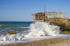 Trabocchi kust i Abruzzo, Italien Arkivfoto