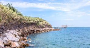Trabocchi kust, San Vito Chietino, Abruzzo, Italien Arkivbilder