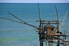 Trabocco. Palafitte for fishermen Chietino San Vito, Abruzzo Stock Photos