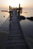 Trabocco dans le coucher du soleil Photographie stock libre de droits