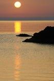Trabocco en la puesta del sol Fotografía de archivo libre de regalías