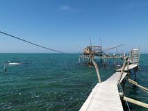 Trabocco at the Italian coast Royalty Free Stock Photo