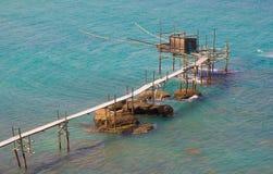 Trabocco at the Italian sea stock photography