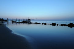 Trabocco into the sunset. Equipment for fishermen to the dawn Abruzzese Stock Photography