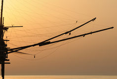 Trabocco into the sunset. Equipment for fishermen to the dawn Abruzzese Stock Photo
