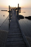 Trabocco into the sunset. Equipment for fishermen to the dawn Abruzzese Royalty Free Stock Photography