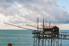 Trabocco , termoli, campobasso, italy. Trabocco  is a ancien fishing machine  in termoli , molise, Italy. it is made of wood and it`s typical of adriatic sea Royalty Free Stock Image