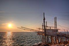 Trabuccco en la puesta del sol Imagenes de archivo
