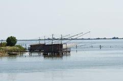 Trabucchi in Comacchio lagoon. Royalty Free Stock Image