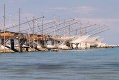 Trabucco, trebuchet, trabocco -它的传统渔房子 库存图片