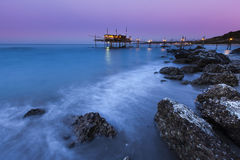Trabucco in abuzzo at sunset Stock Images