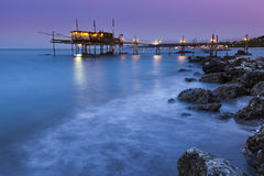 Trabucco in abuzzo at sunset Royalty Free Stock Photos