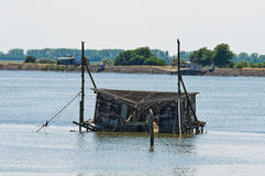 Trabucco in Comacchio lagoon. Stock Photos