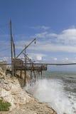 Trabucco on the Gargano coast Stock Photo