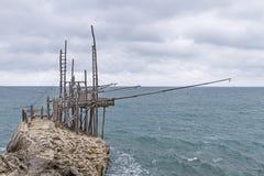 Trabucco on the Gargano coast Stock Photos