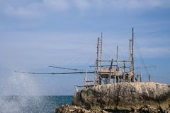 Trabucco La Punta, traditional wooden structure used for fishing, commonly found along the Adriatic coast near Vieste in Italy. stock image