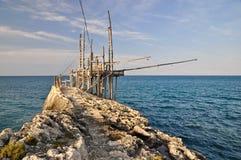 Trabucco, machine italienne type de pêche. Images libres de droits