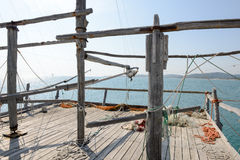 Trabucco in the National Park of Gargano  near Vieste Stock Photography