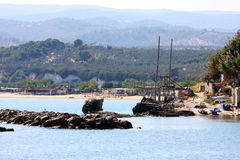 Trabucco near Vieste in the Adriatic Sea, Italy Royalty Free Stock Images