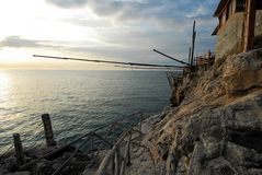Trabucco on the sunset in Puglia,. Italy stock photo