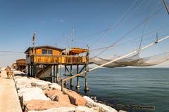 Trabucco, trebuchet, trabocco - традиционные дома рыбной ловли в ем Стоковая Фотография