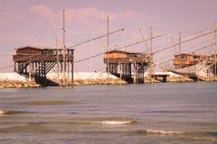 Trabucco, trebuchet, trabocco - традиционные дома рыбной ловли в ем Стоковое Фото