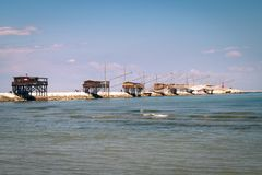 Trabucco, trebuchet, trabocco - traditional fishing houses in It Royalty Free Stock Photography