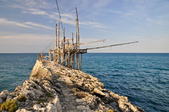 Trabucco, typical italian fishing machine. Royalty Free Stock Images