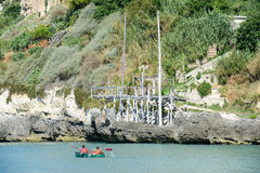 Trabucco at Vieste on Puglia, Italy. Royalty Free Stock Images