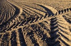 Tracce del trattore di agricoltura sul suolo del campo dell'azienda agricola Fotografie Stock Libere da Diritti