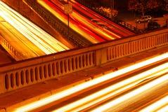 Tracce dell'indicatore luminoso dell'automobile. Fotografia Stock