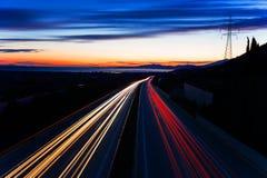 Tracce dell'indicatore luminoso dell'automobile Immagini Stock Libere da Diritti