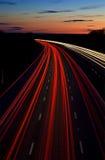 Tracce dell'indicatore luminoso dell'autostrada Fotografia Stock Libera da Diritti