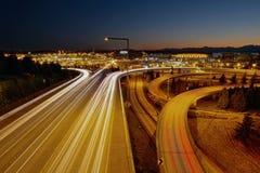 Tracce dell'indicatore luminoso della strada principale di Seattle Washington Fotografia Stock Libera da Diritti