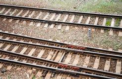 Tracce della ferrovia fondo, trasporto, industriale fotografie stock