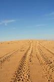 Tracce della gomma in una duna Fotografia Stock