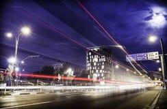 Tracce della luce all'ora di punta Immagini Stock