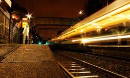 Tracce della luce del treno Fotografia Stock