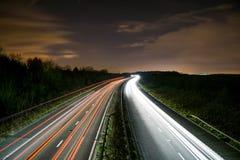 Tracce della luce sul A1 Fotografie Stock