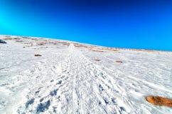 Tracce della neve sulle alpi delle dolomia Immagini Stock Libere da Diritti