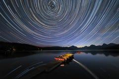 Tracce della stella al Glacier National Park immagini stock libere da diritti