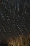 Tracce della stella nel cielo notturno Fotografia Stock